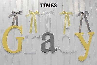 "Wooden Wall Letters 8"" size Painted Wood Baby Children Nursery Names Decor Times"