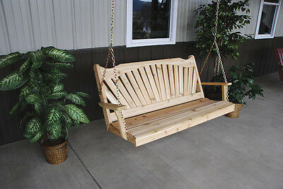 Classic Outdoor 6 Foot Fanback Porch Swing *Unfinished Pine*  6 ft Swing USA