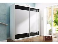 **7-DAY MONEY BACK GUARANTEE!**- Tetra Black or White High Gloss Sliding Wardrobe - BRAND NEW!