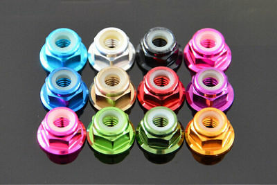 (M4 4mm Aluminum Flanged Nylon Lock Nut X 10 silver Blue Red Gold Pink Grey black)
