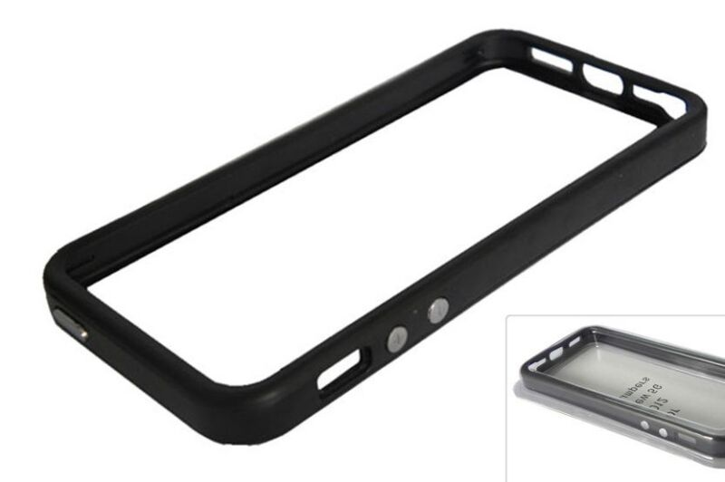 iPhone 5 Solid Black Bumper Case w/ Metal Buttons TPU w/ Rubber Apple OEM Style