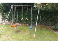 Swing on metal frame backyard