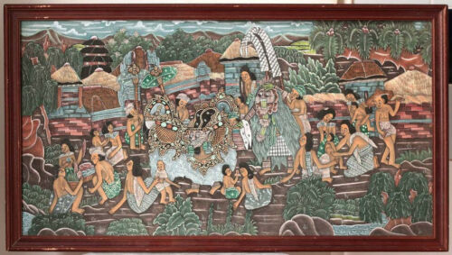 Barong scene, Balinese painting, framed, Indonesia