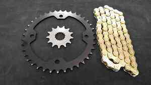 YAMAHA RAPTOR 700 SPROCKET & GOLD O-RING CHAIN SET 15/38 2006 - 2015 blk