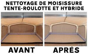 NETTOYAGE DE MOISISSURE POUR TOILES DE TENTE-ROULOTTE ET HYBRIDE