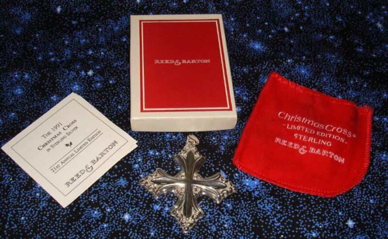 Reed & Barton 1991 Sterling Silver Christmas Cross Mint w Box  Pouch