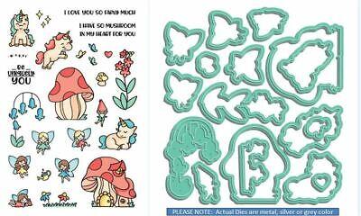 LDRS Creative Stamp & Die Combo Set ~ PIXIE PALS - Unicorns, Fairies -3175, 8096