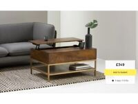 NEW! MADE. com LOMOND coffee table mango wood brass gold storage raising shelf lift top