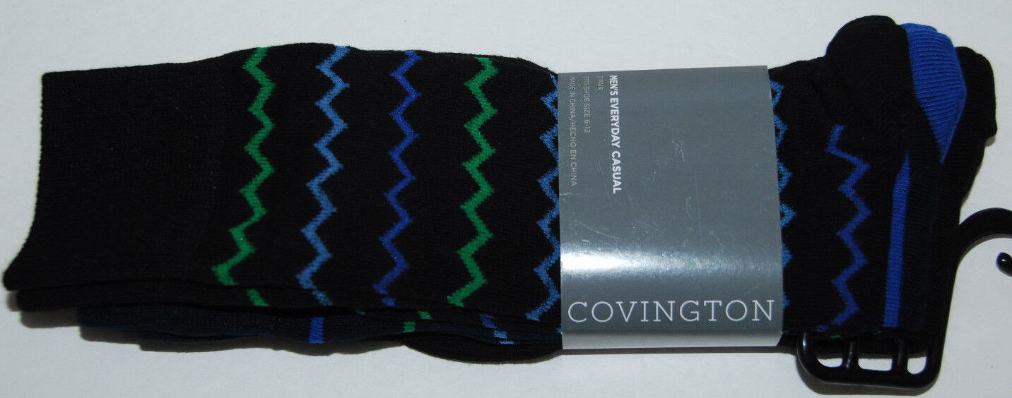 Covington Mens Casual Socks Size 6-12 Cotton Blend Black Stripes 3 Pairs - $11.24