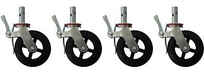 """A set of 4 Scaffolding 8"""" Rubber Caster Wheel with Double Locking Brakes CBM1290"""