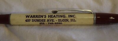 TS-036 IL Elgin Warren's Heating Inc, Mechanical Pencil Advertising Vintage