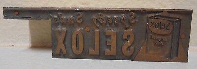 Selox Speedy Suds Metal Wood Letterpress Printing Block Type Cut