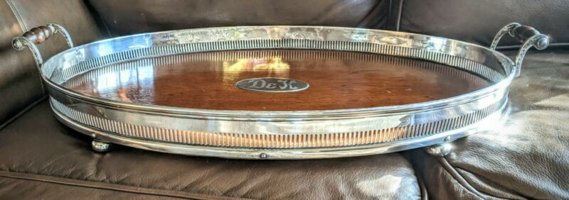 Antique Victorian Oak Wood & Silver Plate Gallery Tray Monogramed   27""