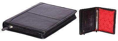 Real Leather Organiser Black Zip Around Folder Underarm A4 Paper Binder Work Bag