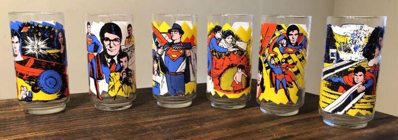 Complete setVintage 1978 Pepsi Superman The Movie 6Drinking Glasses DC Comics