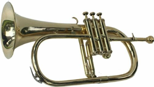 EXQUISITE!!! NEW BRASS FINISH-Bb FLUGEL HORN FREE HARD CASE+MOUTHPIECE