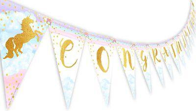 Magical Unicorn Rainbow Congratulations Banner Pennant - Unicorn - Congratulations Banner