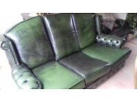 Vintage chesterfield green leather sofa and armchair