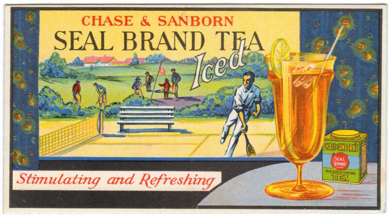 TRADE CARD BLOTTER U.S. CHASE & SANBORN TEA TENNIS GOLF