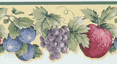 Fruit Scalloped Die Cut Grapes Green Gold Cream York Wallpaper Border Wall (Die Cut Wall Border)