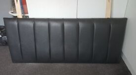 Modern Black Faux Leather Headboard for Small Double (4ft)