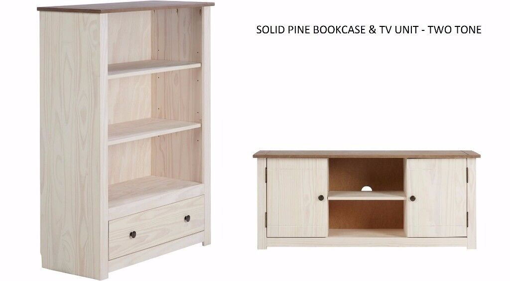 BRAND NEW SOLID PINE BOOKCASE TV UNIT WOODEN FURNITURE LIVING ROOM SET