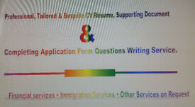 Professional CV, Supporting Document & Completing Application Form Questions Writing Service