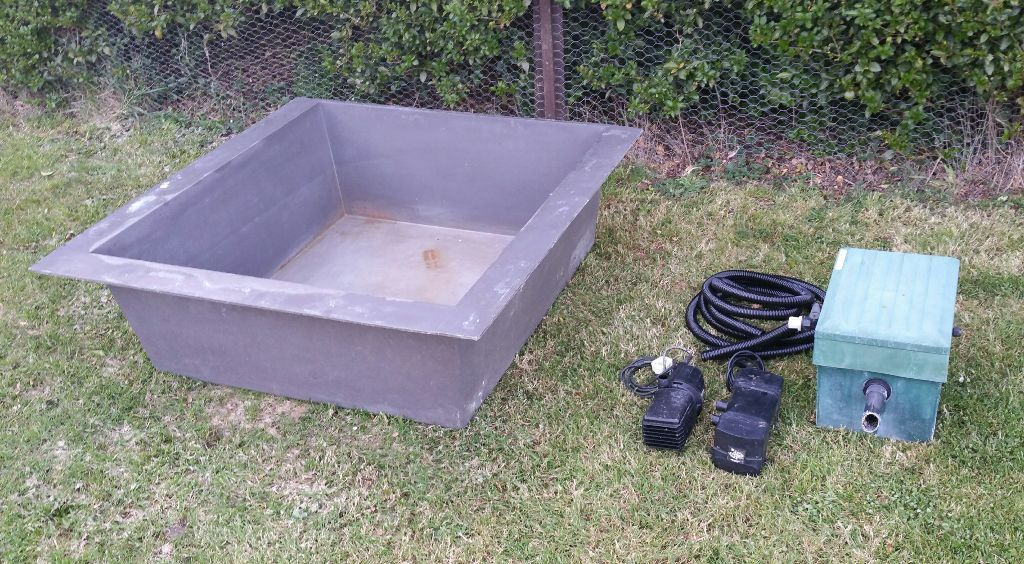 Raised fibreglass koi fish pond complete set up in Setting up fish pond