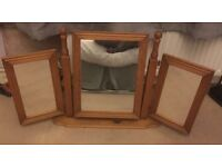Solid pine triple folding mirror for dressing table