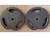 "Used 2x10kg black weight plates 1""/2.5cm diameter 20kg"