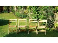 ***Set of 4 Wooden Foldable Chairs, Natural Finish***