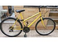 "Bicycle adults Mountain Bike Yellow. 21"" Frame. 26"" Wheels. Fully Working"