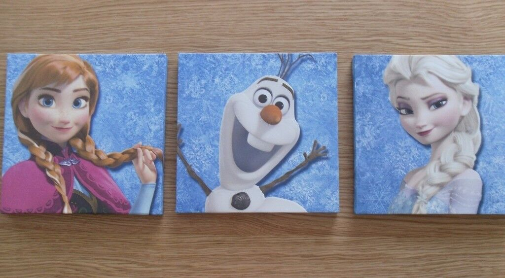 "Set of 3 Disney ""Frozen"" Canvas Pictures – 25 x 25 cms - £5 each or o.n.o"