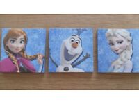 """Set of 3 Disney """"Frozen"""" Canvas Pictures – 25 x 25 cms - £5 each or o.n.o"""