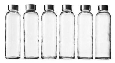 Epica Glass Beverage Bottles Set Of 6 Pack 18 Oz Metal Cap Liquid Juice BPA Free