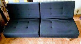 """Sofa Bed Debenhams """"Black Acapulco""""."""