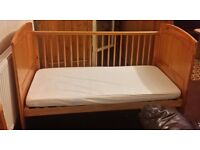 Toys R Us Pine Wood Cot bed with mattress