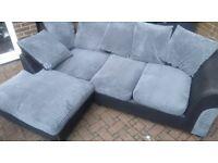 Like new leather & fabric corner sofa