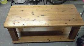 Heavy solid pine coffee table very large