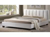 4ft white faux leather bed