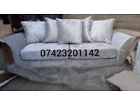 Sofas 3&2 Seaters in a luxurious silver crushed velvet, new and unused, can deliver.
