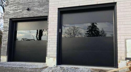 Modern Black Smooth Flush Panel Steel Garage Door & Horizontal Glass [10