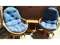 Bamboo / Cane Swivel Conservatory / Patio set Lux Cushions + Side Table