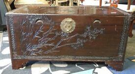 Stunning Carved Camphor Box- Large - Decorative - Storage Box - Blanket Box