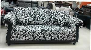 BLACK AND WHITE TRADITIONAL CANADIAN MADE COUCH ON GREAT PRICE: GRAND SALE:REDUCED PRICES (AD 204)