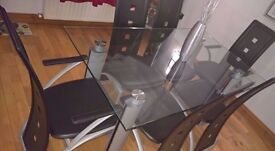 5ft GLASS CHROME DINING TABLE 6 BLACK FAUX LEATHER CHAIRS MODERN