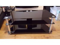 Black Glass TV Table Stand 108cm