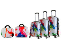New Art 5 Piece Set 4 Wheel Luggage Suitcase Trolley Holiday Travel Bag Case Hard Shell Suitcases