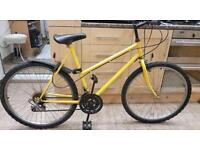 """Raleigh Bicycle adults Mountain Bike Yellow. 21"""" Frame. 26"""" Wheels. Fully Working"""