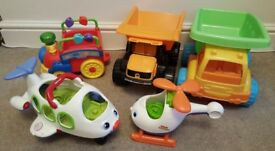 5 LARGE TOYS BUNDLE INCLUDING FISHER PRICE LITTLE PEOPLE HELICOPTER & PLANE.